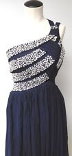 JJ'S HOUSE UN WORN BLUE FULL LENGTH 1 SHOULDER FULL CRYSTAL BUST PAGENT PROM XS