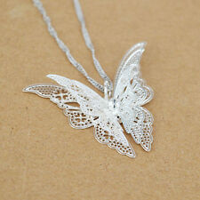 Lady Girl Silver Plated Butterfly Necklace Pendant Best Gift