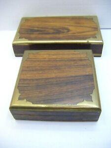 Set of 2 Indian 'Sheesham' wood and brass storage boxes