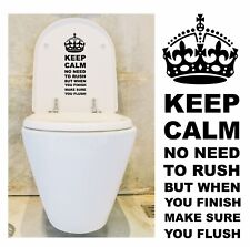 Keep Calm Make Sure You Flush, Decal / Sticker for Toilet Seat or Cistern etc