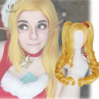 LOL Jinx Cosplay Wig Christmas Blonde Ponytail Curly Wavy Wig