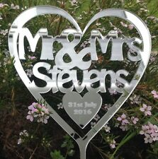 New Design Personalised Mr & Mrs Mirror heart Wedding cake toppers
