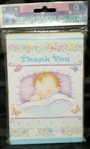 Vtg. Cute Sleeping Baby Boy Baby Shower Thank You Cards 8ct Cards and Envelopes