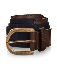OLIVER SWEENEY MENS TOBIA BELT - BROWN / NAVY - LEATHER / CANVAS - RRP £75 SALE