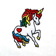 Rainbow Unicorn Horse Red Heart 70's Retro Lucky Legendary Animal IRON ON PATCH