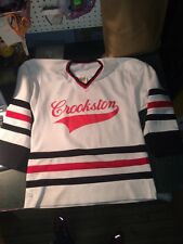 vintage youth hockey jersey 1970s Crookston MN nor tex white earth size L