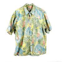Cooke Street Reverse Colorful S/S Aloha Hawaiian Shirt Mens XL Blue Green 1802