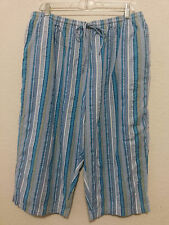 "Blair Womens Capris Size XL Blue & White Stripe Seersucker Pants 17 1/2"" Inseam"