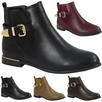 New Womens Low Heel Pull On Buckle Ankle Boots Ladies Casual Strappy Shoes Size