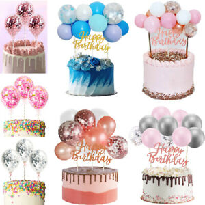 10PCS Confetti Balloon Cake Topper Arch Garland +Happy Birthday Bunting Party UK