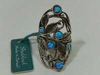 SHABLOOL ISRAEL DIDAE STERLING SILVER BLUE FIRE OPAL KNUCKLE TO KNUCKLE RING S8