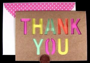Craft Paper Thank You Punched Out Overlay Yellow Pink Teal Orange  Note Card NEW