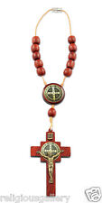 Saint Benedict Cross Car Rearview Mirror Protection Rosary, Cherry Wood Beads