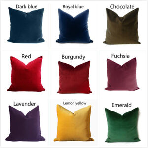 """18""""/20"""" Soft Velvet Solid Color Throw Pillow Case Sofa Bed Cushion Cover"""