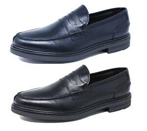 Mocassini uomo Class vera pelle vitello calzature scarpe eleganti blu nero