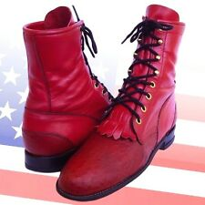 JUSTIN Red Full Quill Ostrich Western Boots Womens 6.5 7 US 5 UK Lacer