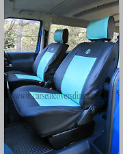 VW Transporter T4 Waterproof Tough Tailored Van Captain Black Blue Seat Covers