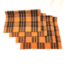 Halloween Place Mats 4 Orange And Black Plaid Material