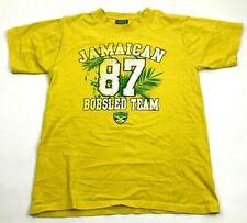 VINTAGE Jamaican Bobsled Team Shirt Size Medium Yellow Graphic Jamaica Rasta Tee