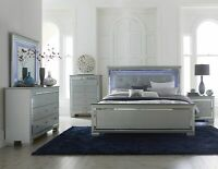 NEW Silver LED Queen or King 5PC Bedroom Set Modern Furniture - Bed/D/M/N/C