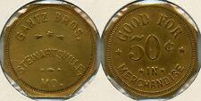 RARE GANTZ BROTHERS 50c LUMBER TOKEN STEWARTSVILLE, DEKALB COUNTY, MISSOURI MO