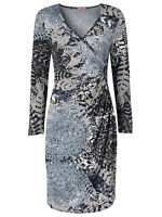 Joe Browns Wrap midi Dress Size 8 10 12 14 16 18 Grey Long Sleeves New