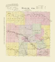 Ellis County Kansas - Everts 1887 - 23.00 x 26.07
