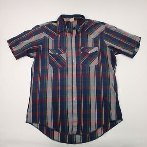 Western Frontier Shirt Adult Large Purple & Red Plaid Button Up Pearl Snap Men's