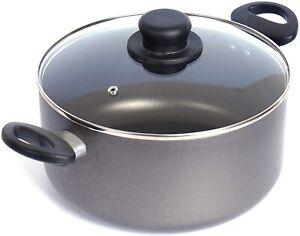 Large Saucepan 4.5L 24cm Large Non-Stick Cooking Pot with Glass Lid Aluminum