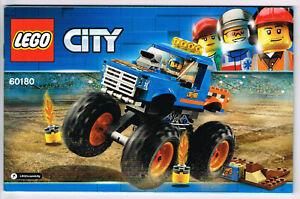 LEGO 60180 NEW Instruction Book + Sticker Sheet for Monster Truck - Manual