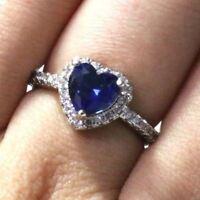 Gorgeous Heart Blue Sapphire Ring Women Wedding Engagement Birthday Jewelry Gift