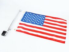 """Boat  flag pole with 12""""X18"""" US flag , 304 Stainless Rail Mount 7/8"""" to 1- 1/4"""""""