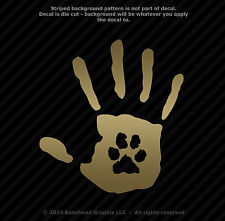 Hand Print With Paw Print Dog Cat Pet Rescue 6.2 inch  Vinyl Window Decal