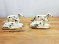TWO VINTAGE AFGAN HOUND ??? DOGS FIGURINES MARUTOMO WARE JAPAN