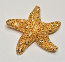 Marked SWAN Goldtone SWAROVSKI Clear Crystal SEA STAR Shape Pin Brooch