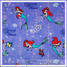 BonEful Fabric Corduroy Purple Disney Little Mermaid Ariel Princess Girl L Scrap