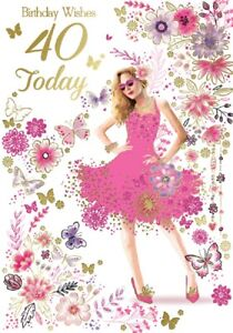 Ladies Birthday Wishes 40 Today Card. Birthday Card For Age 40 Female