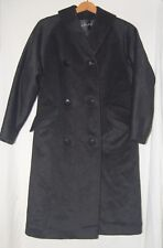 Vintage Hecht Womens Black Wool Winter Trench Coat L Double Breasted Long Jacket