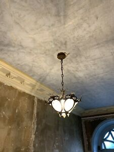 Vintage Antique Brass Glass Ceiling Pendant Light Hallway Living Room