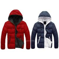 Men Winter Casual Hooded Thick Padded Jacket Zipper Slim Outwear Coat Warm New
