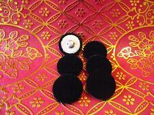 6 Botones cubierto de tela de terciopelo negro. Metal Bucle Caña. Talla 35mm