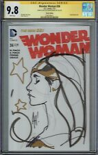 CGC SS 9.8 WONDER WOMAN #36 ADAM HUGHES SKETCHED AND SIGNED BLANK COVER SKETCH