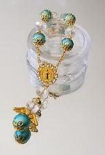 12xBaptism Turquoise Gold Cystal Angel Rosary Bracelet Bautizo/Boda/1st Communio