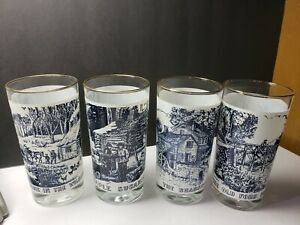 VINTAGE CURRIER AND IVES SCENIC BLUE WHITE GLASS WATER TUMBLER GLASSES W GOLD