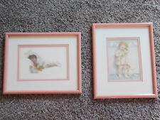 2 Vintage ~Baby Doll Pictures for Nursery~ Decoration Dusty Pink & Cream Color