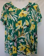 WOMEN'S PLUS SIZE 1X 16W GREEN YELLOW EVRI FLORAL SUMMER SHIRT CLOTHING NEW