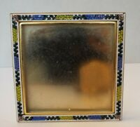 Vintage MICRO MOSAIC Large Square Floral Picture Frame ITALIAN Victorian Blue
