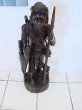 "34"" Hand Carved Wood Igorot Hunter Statue Philippines Warrior Tribal  Figure"