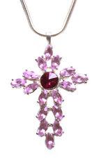 Chic Blush/fuchsia Pink Diamante Slim Chrome Chain Necklace(Sr/zx225)