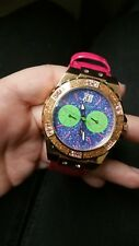 GUESS WATCH Women * Sparkeling Blue/Green Dial * Pink Leather Band * U0775L4